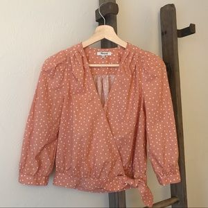 Madewell Wrap-Top in blush star print